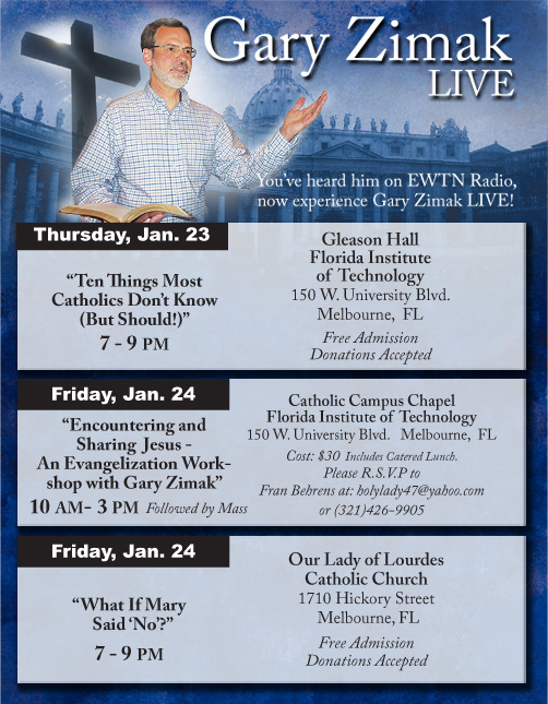 Catholic Speaker Gary Zimak will be speaking at 3 events in Florida