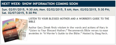 Catholic Speaker and author Gary Zimak will appear on the EWTN TV show Bookmark this week to discuss two of his books