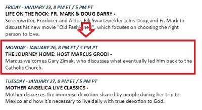 Catholic speaker Gary Zimak will be the guest of Marcus Grodi on EWTN's The Journey Home on Monday night