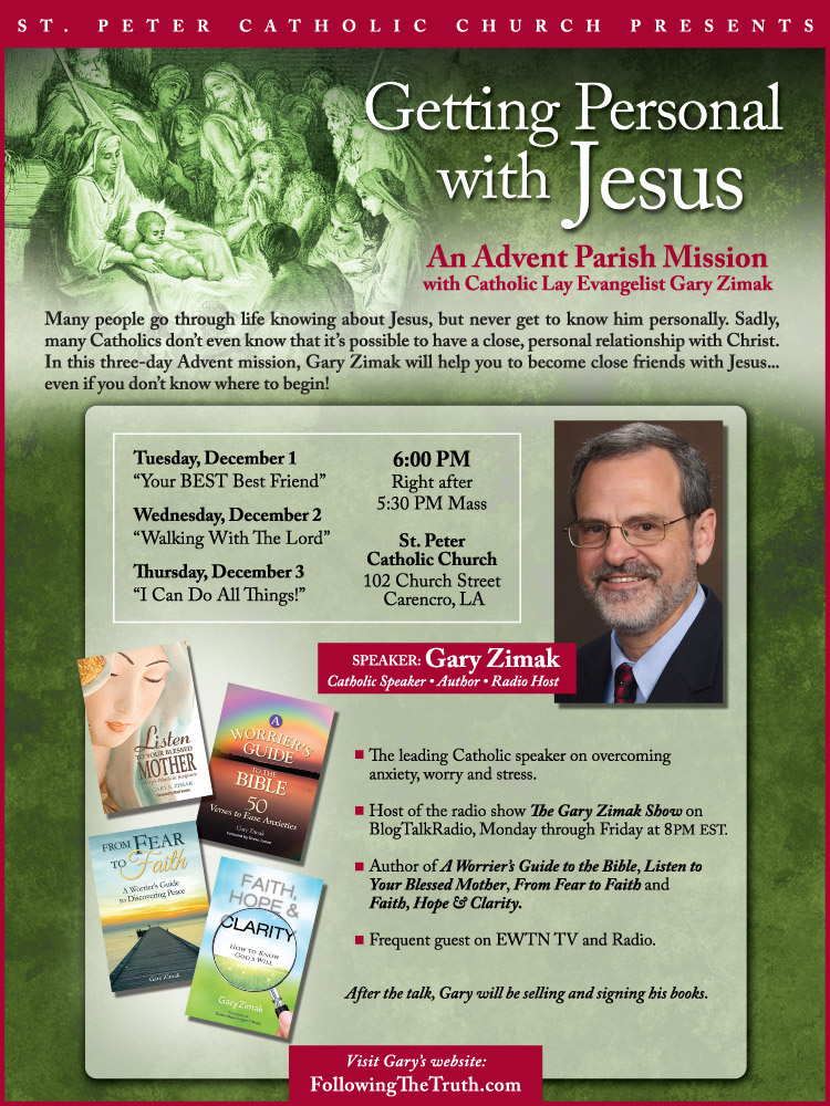 Catholic speaker and author Gary Zimak will be leading a parish mission at Saint Peter's Church in Louisiana.